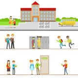 School Building Exterior And Kids In Its Corridors Illustrations Royalty Free Stock Images