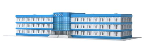 School building. Exterior view of school. 3d illustration Royalty Free Stock Image