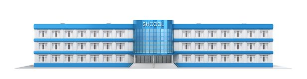 School building. Exterior view of school. 3d illustration Royalty Free Stock Photos