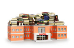 School building filled with books. Isolated on white background. 3D illustration Stock Photography