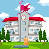 School building and flag in the lawn. Illustration Stock Photo
