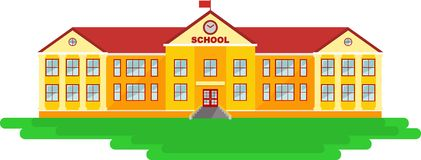 School building in flat style Royalty Free Stock Photography