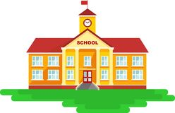 School building in flat style Royalty Free Stock Image