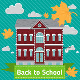 School building in front of blue sky with autumn clouds and leaves. Vector flat illustration Royalty Free Stock Photography