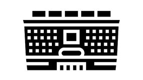 school building glyph icon animation