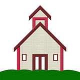 School Building with grass Illustration. Home / School building Illustration with isolated background can be used by builders, also in .png format Stock Photo