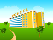 School building in the green. School building with park and blue sky related to education Stock Photography