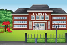 School building and green lawn. Illustration Stock Photo