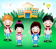 School Building with Happy Cute Little Kids Characters and Hot air Balloons Royalty Free Stock Photography
