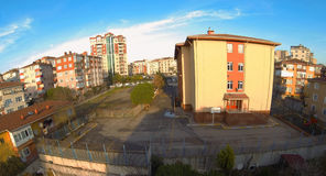 School Building. High angle panoramic view Royalty Free Stock Photography