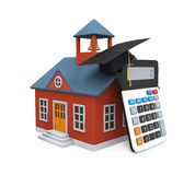 School Building Icon and Calculator Stock Photography
