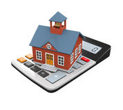 School Building Icon and Calculator Royalty Free Stock Images