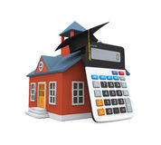 School Building Icon and Calculator Royalty Free Stock Image