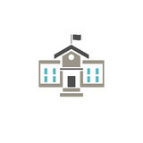 School building icon. With color on white background Stock Image