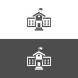 School building icon. On dark and white background Stock Images