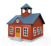 School Building Icon. Isolated on white background. 3D render Royalty Free Stock Image
