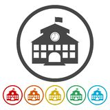 School building icon. Vector icon stock illustration