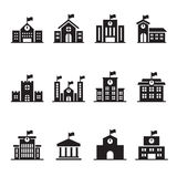 School building icons set Royalty Free Stock Image