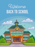 School building illustration for banner or poster design. Stock Photos