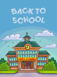 School building illustration for banner or poster design. Royalty Free Stock Image