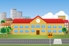 School building. Illustration of school building with street Royalty Free Stock Photo