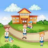 School building ilustration with happy children. On grass vector illustration