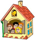 School building with kids. Illustration Stock Photo