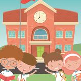 School building and kids design stock illustration