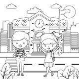 School building and kids design vector illustration