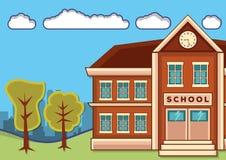 School building with landscape. Vector flat design illustration stock illustration
