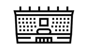 school building line icon animation
