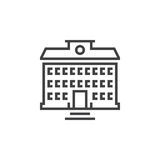 School building line icon, outline vector logo, linear pictogram. Isolated on white, pixel perfect illustration Stock Photo