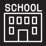 School building line icon, white outline sign, vector illustration. Stock Image