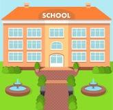 School building over landscape background. Vector illustration. Stock Photography