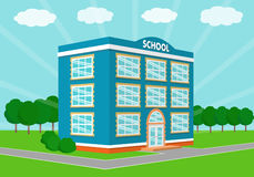 School building in perspective view. Vector illustration. Blue school building over landscape background in perspective view. Vector illustration Royalty Free Stock Photography