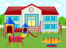 School building and playground Royalty Free Stock Images