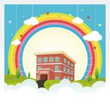 School Building with rainbow and cloud background Stock Photo