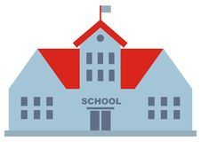 School building with red roof and flag. Web icon. Silhouette of house Stock Image