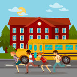 School Building. Scholars Running to School. School Bus Stock Images