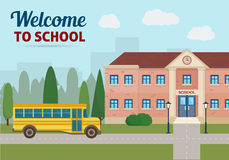 School building and school yellow bus Royalty Free Stock Photography