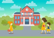 School building and schoolchild vector illustration. Welcome to school Royalty Free Stock Photos