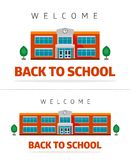 School building with slogan. School building on a white background, trees and slogan - back to school Royalty Free Stock Photography