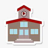 School building sticker. On gray Royalty Free Stock Photo