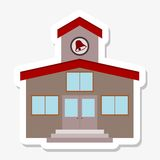 School building sticker. On gray background Stock Photo
