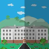 School building on a summer background royalty free illustration