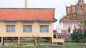 School building and temple in Cambodia Royalty Free Stock Photography