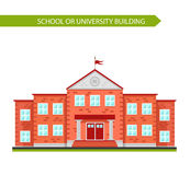 School building. School or university building. Element to create urban background, village and town landscape. Flat style vector illustration isolated on white Stock Photos