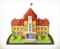 School building vector graphic. School building, cartoon vector graphic, mesh Royalty Free Stock Photo