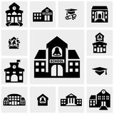 School Building Vector Icons Set On Gray Stock Photo