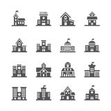 School building vector icons set. Urban school architecture and structure school institution illustration Stock Image